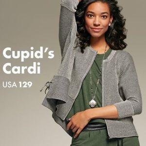 CAbi Cupid's Cardi Striped ZIP Up